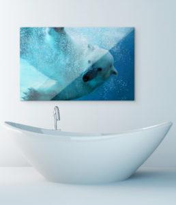 Acrylglasfoto im Badezimmer