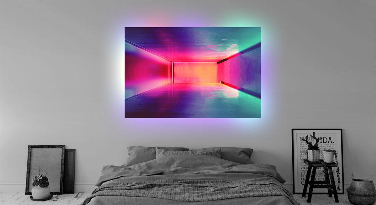 Acrylglas beleuchtet im Schlafzimmer