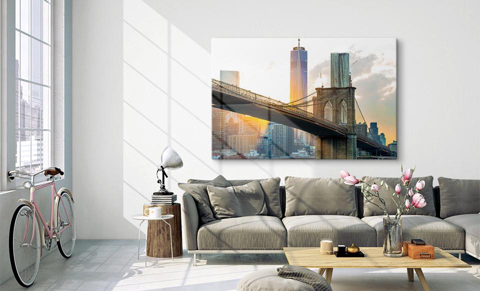 Acrylglas Druck über dem Sofa