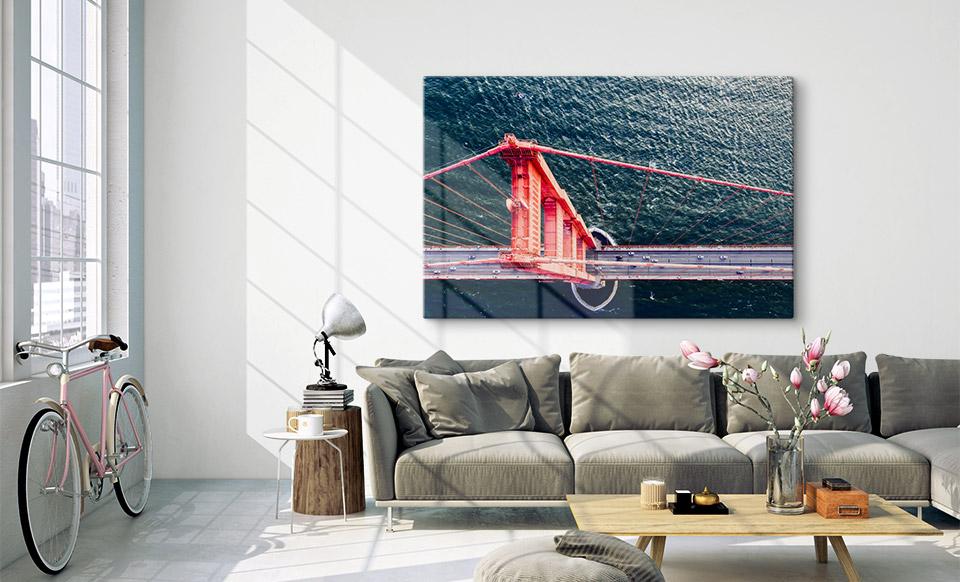 Acrylgals Foto über Sofa