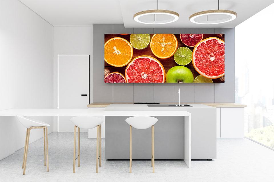 Acylglasbilder setzten Akzente in der Küche