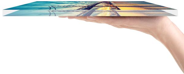 Bild hinter Glas von der Seite
