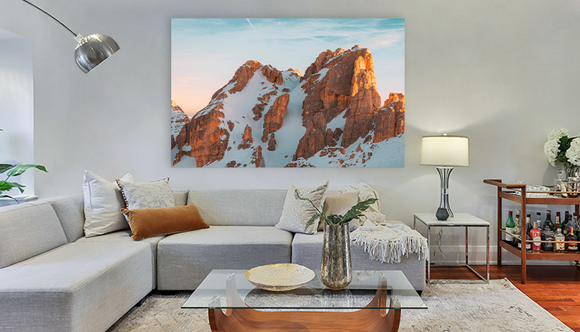 foto auf acrylglas in wohnzimmer