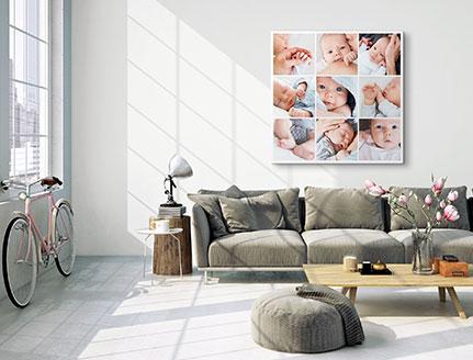Fotocollage 9 Bilder über Sofa